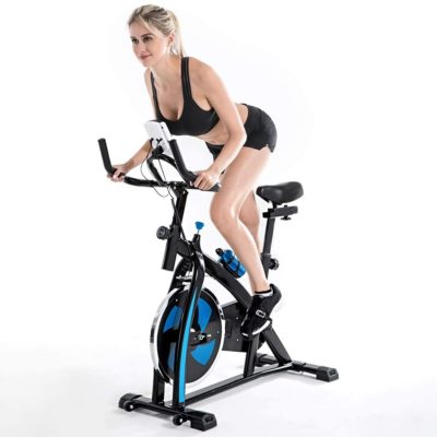 A-free Indoor Cycling Bike Stationary - Fitness Equipment Mute Exercise Bike, Sporty Saddle Design, Chain Drive w/Heart Rate, LCD Monitor, Adjustable Seat and Handlebars & Base for Home Workout