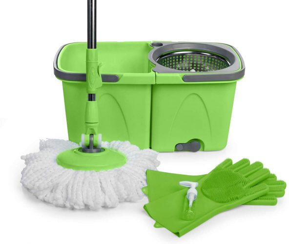 SoftSpin Spin Mop and Bucket – 2 Stage Floor Mop System with Built-in Detergent Dispenser Separates Clean and Dirty Water to Get Floors Cleaner (Green)