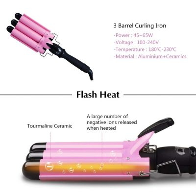 Professional Curling Iron 1 Inch 3 Barrel Hair Waver Ceramic Curling Wand Jumbo Wave Hair Curler Crimper Hot Tools | LCD Temp Display | Dual Voltage | Heats Up Quickly | Salon Home Use Pink BLUETOP
