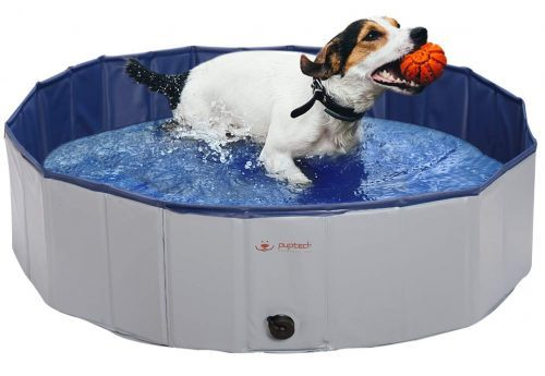 PUPTECK Foldable Dog Swimming Pool - Outdoor Portable Pet Bathing Tub