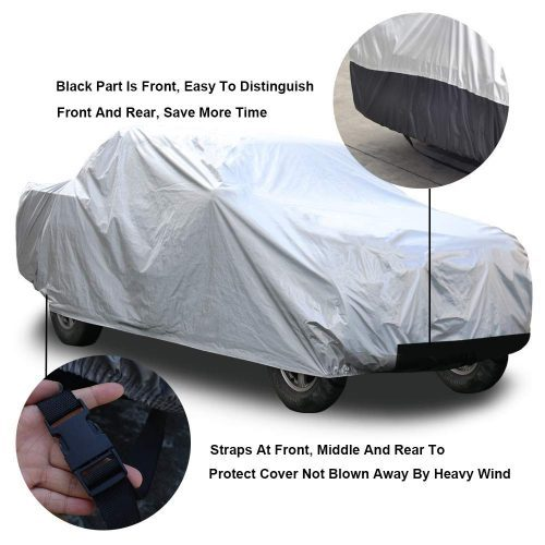 "kayme 6 Layers Truck Cover Waterproof All Weather, Heavy Duty Outdoor Pickup Cover Sun Uv Rain Protection, Universal Fit (Length Up to 242"") XL"
