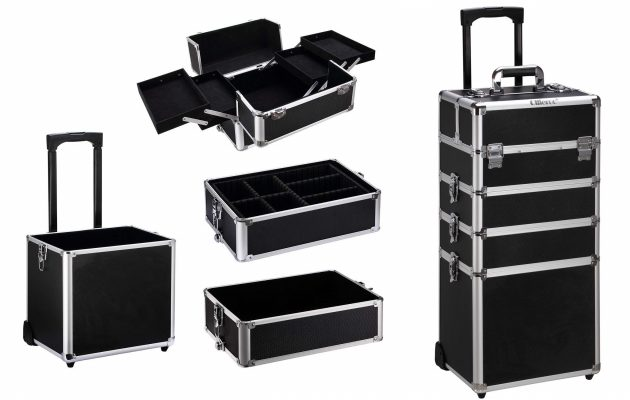 Ollieroo 4 in 1 Aluminum Rolling Cosmetic Makeup Train Cases Trolley Professional Artist Train Case Organizer Box Lift Handle Lock 2 wheel 2 Keys Each Layer Total 8 Keys Makeup Luggage Black