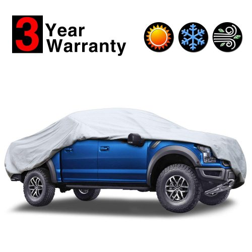 KAKIT 6 Layers Truck Cover - Windproof Waterproof All Weather, for Summer Outdoor, UV Protection, Universal Fit Car Covers for Truck Pickup, Windproof Ribbon & Anti-Theft Lock, Fits up to 242""