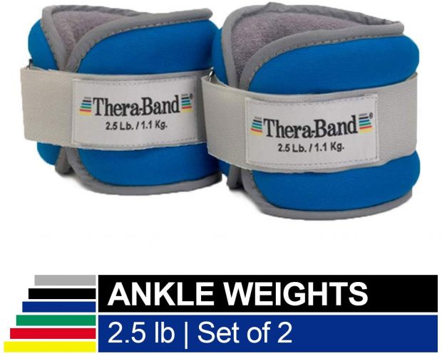 TheraBand Ankle Weights, Comfort Fit Wrist & Ankle Cuff Weight Set, Adjustable Walking Weights for Cardio, Home Workout, Ankle Strengthening & Physical Therapy, Blue, 2.5 lb. Each, Set of 2, 5 Pounds by TheraBand