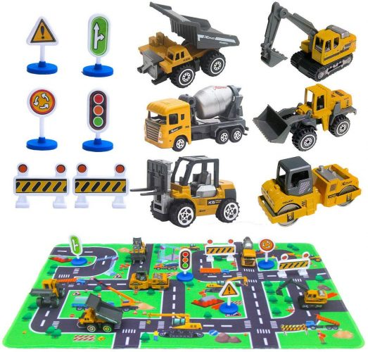 "Construction Vehicles Toys with Play Mat, 6 Construction Cars, 6 Road Signs and 15.5"" x 23.5"" Playmat, Mini Diecast Cars Play Sets, Toy Trucks, Perfect Toy Cars Party Supplies"