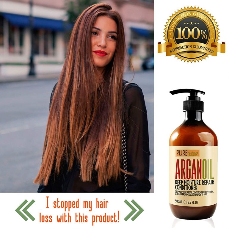 Moroccan Argan Oil Shampoo and Conditioner SLS Sulfate Free Organic Gift Set - Best for Damaged, Dry, Curly or Frizzy Hair - Thickening for Fine/Thin Hair, Safe for Color and Keratin Treated Hair