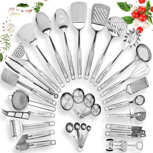 HOME HERO Stainless Steel Kitchen Utensil Set - 29 Cooking Utensils - Nonstick Kitchen Utensils Cookware Set with Spatula - Best Kitchen Gadgets Kitchen Tool Set Gift
