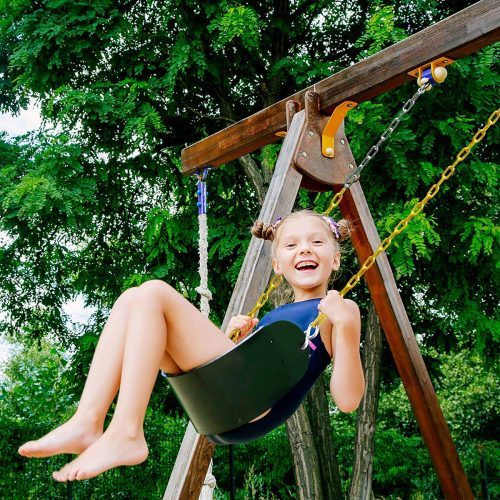 "Sunnyglade 2PCS Swings Seats Heavy Duty with 66"" Chain Plastic Coated, Playground Swing Set Accessories Replacement with Snap Hooks, Support 250lb"