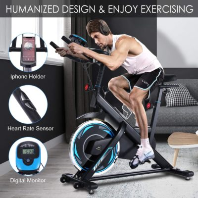 FUNMILY Indoor Exercise Bike Stationary, Cycling Bike-Belt Drive with Heart Rate Monitor & LCD Monitor, Comfortable Seat Cushion, Flywheel- Commercial Standard for Home Cardio Workout