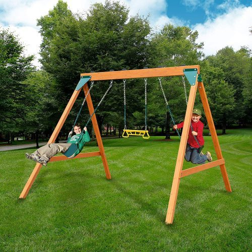 Swing-N-Slide PB 8360 Ranger Wooden Swing Set with Swings