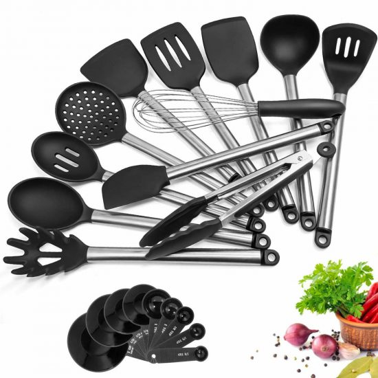 Silicone Cooking Utensil Set, 13 Piece Kitchen Utensils Sets with Stainless Steel Handle, Non stick Heat Resistant Easy to Clean and Store