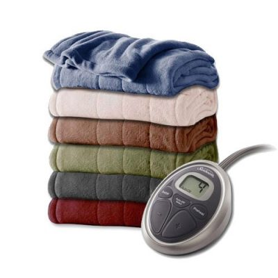 Sunbeam Channeled Velvet Plush Electric Heated Blanket Full Cocoa