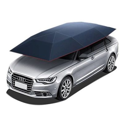 Reliancer Car Tent Semi-Automatic Hot Summer Car Umbrella Cover Portable Movable Carport Folded Automobile Protection Sun Shade Anti-UV Canopy Sunproof Shelters SUV(Manual Blue)