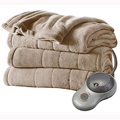 Sunbeam Channeled Microplush Heated Electric Blanket Full Mushroom Washable Auto Shut Off 10 Heat Settings