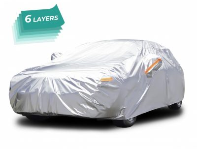 Audew All Weather Car Cover 6 Layer Breathable UV Protection Snowproof Waterproof Dustproof Universal Fit Full Car Covers for Sedan, SUV L(167''-190'')