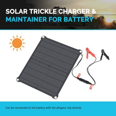 Renogy 16W 12V Portable Solar Panel Battery Maintainer Trickle Charger with Lighter Plug, Alligator Clips, and Battery Cables
