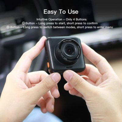 Roll over image to zoom in APEMAN Dual Dash Cam for Cars Front and Rear with Night Vision 1080P FHD Mini in Car Camera 170° Wide Angle Driving Recorder with G-Sensor, Parking Monitor, Loop Recording, WDR
