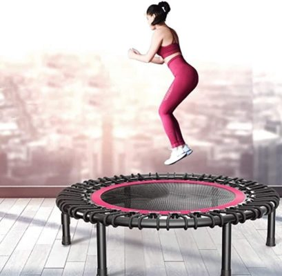 LERSS Indoor Fitness Training Adult or Children Trampoline 40-inch Mini Sports Trampoline Indoor Fitness Bouncing Bed with Safety mat, Maximum Load 220LBS