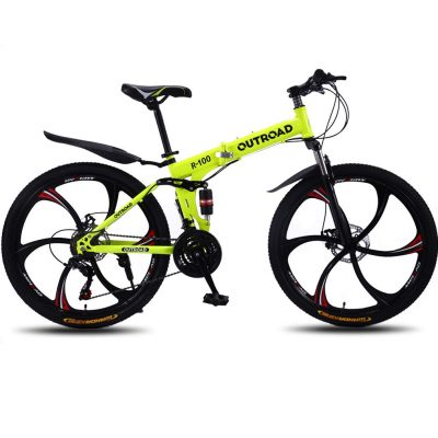 Max4out Mountain Bike Folding Bikes, Featuring 6 Spoke 21 Speed Shining SYS Double Disc Brake Full Suspension Anti-Slip 26 inch Bicycles