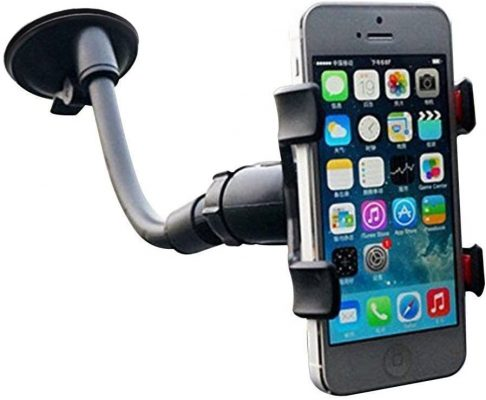 EAGWELL Universal 360 Degree Rotating Flexible Double Clip Car Windshield Mount Holder Stand Bracket for 3.2 to 6-Inch Smartphone - Black