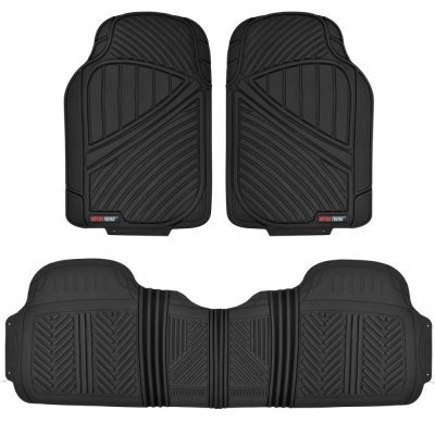 Motor Trend FlexTough Baseline-Heavy Duty Rubber Floor Mats for Car SUV Truck Van, 100% Odorless & All Weather Protection-Black