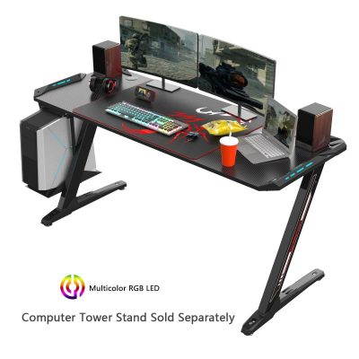 EUREKA ERGONOMIC Z60 Gaming Desk 60'' Z Shaped Large PC Computer Gaming Desks Tables with RGB LED Lights Controller Stand and Mouse Pad for E-Sport Racing Gamer Pro Home Office Gift