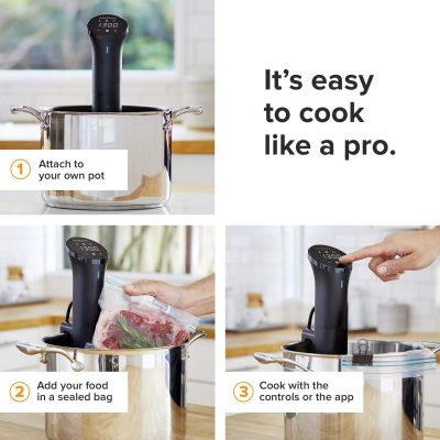 Roll over image to zoom in VIDEO Anova Culinary Sous Vide Precision Cooker Nano | Bluetooth | 750W | Anova App Included