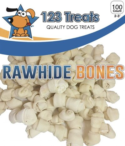 "123 Treats | Rawhide Bones for Small Dogs 2-3"" Inches Dog Chews Packed in The USA from Natural Grass Fed Cattle - USDA/FDA Approved"