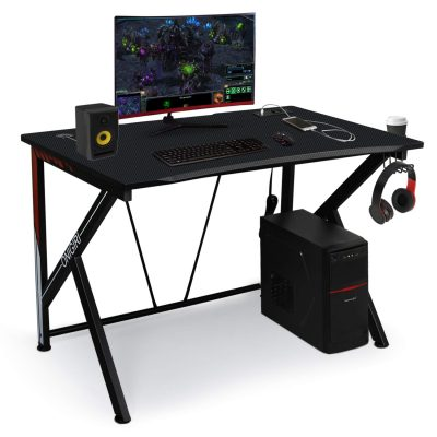 "Gaming Desk Computer Table 45.66"" Large E-Sports Home Computer Desk with Multi-Function Socket Large Carbon Fiber Surface,Heavy Duty Construction for Home or Office Workstation Game Table"