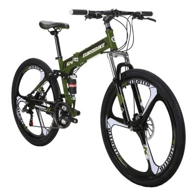 Eurobike EURG4 Mountain Bike 26 Inches 3 Spoke Wheels Dual Suspension Folding Bike 21 Speed MTB