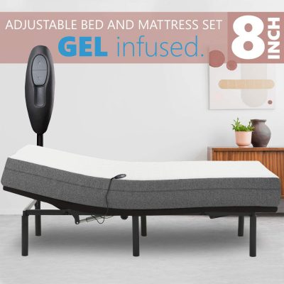 """Blissful Nights Adjustable Bed Frame with 8"""" Firm Gel Infused Memory Foam Mattress, Head Only Incline and Wired Remote No Tools Required Assembly (Queen)"""