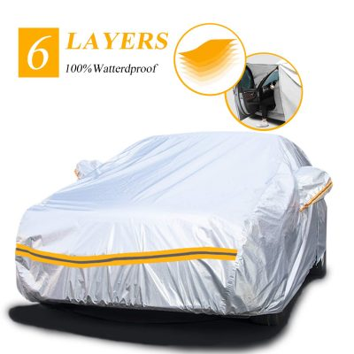 "Snow Protect Car Cover,6 Layers Car Cover Outdoor Protection Winter Car Cover Waterproof All Weather Universal Full Car Cover with Zipper A3-3XXL(Fits Sedan 194"" to 208"")"