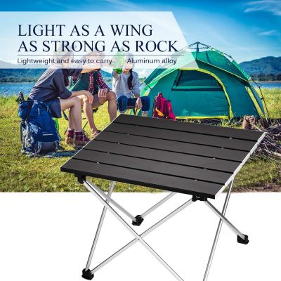 Ledeak Portable Camping Table, Small Ultralight Folding Table with Aluminum Table Top and Carry Bag, Easy to Carry, Prefect for Outdoor, Picnic, BBQ, Cooking, Festival, Beach, Home Use