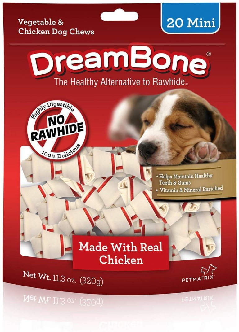 Roll over image to zoom in DreamBone Vegetable & Chicken Dog Chews - Rawhide Free - Made with Real Chicken (Mini-Bones; 20 Count)