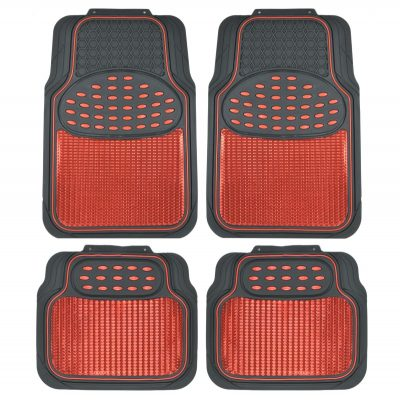 BDK MT614RDAMw1 Metallic Rubber Floor Mats for Car SUV & Truck - Semi Trimmable, 2 Tone Color Heavy Duty Protection(Red/Black)