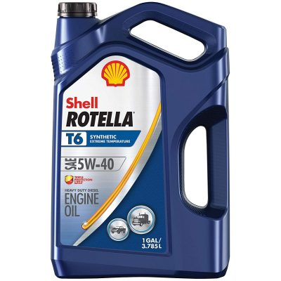 Shell Rotella T6 Full Synthetic 5W-40 Diesel Engine Oil (1-Gallon, Single Pack, New Packaging)