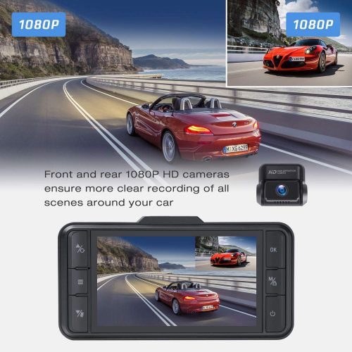 TOGUARD Both 1080P Dual Dash Cam Front and Rear Dual Lens in Car Camera 3 Inch IPS Screen 170° Wide Angle Dash Camera for Cars Driving Recorder, Support External GPS Logger