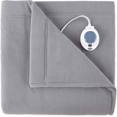 SoftHeat by Perfect Fit | Luxury Fleece Electric Heated Blanket with Safe & Warm Low-Voltage Technology (Queen, Gray)
