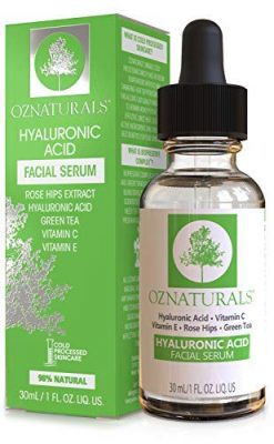 OZNaturals Hyaluronic Acid Serum for Face: Hyaluronic Facial Serum with Vitamin C and E - Antioxidant Moisturizer Serum to Hydrate, Plump Skin - Anti Aging and Brightening Skin Care Serums - 1 Fl Oz