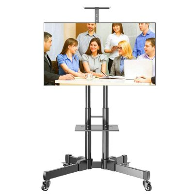"Mobile TV Stand Cart for 32-70"" Flat Display Panels-Ultra-Stable Castor Wheels TV Trolley with Tray-VESA 200x200 to 600x400 Bracket"