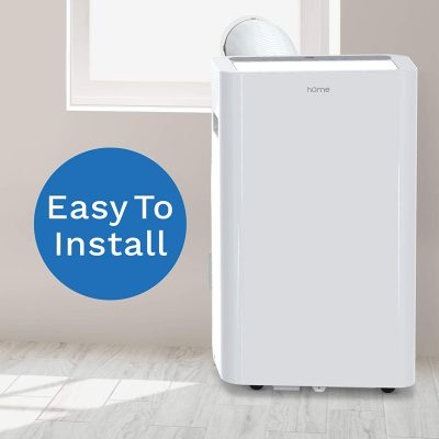hOmeLabs 14,000 BTU Portable Air Conditioner - Quiet AC Cools Rooms 450 to 600 Square Feet - Air Conditioning Machine with 100 Pint Dehumidifier Function, Remote Control and Washable Filter