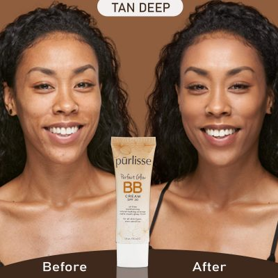 purlisse BB Tinted Moisturizer Cream SPF 30 for All Skin Types, Tan Deep, 1.4 Ounce