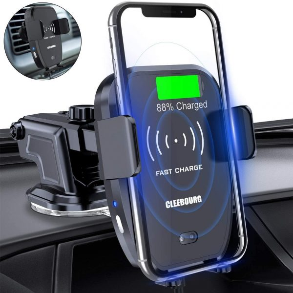 Wireless Car Charger Mount, Automatic Clamping Qi 10W 7.5W 5W Car Mount Dashboard Air Vent Phone Holder Compatible with iPhone Xs MAX/XS/XR/X/8/8+,Samsung S10/S10+/S9/S9+/S8/S8+ (Medium-2)