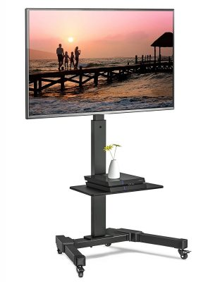 "FITUEYES Mobile TV Cart Stand with Locking Wheels for 32"" - 65"" Flat Panel LCD LED Curved Screens Rolling TV Trolley Stand, TC207701MB, Height Adjustable"