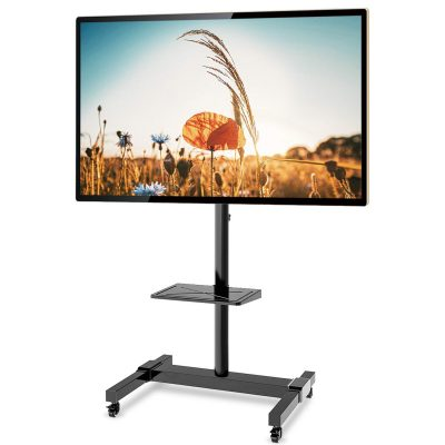 Mobile TV Stand Rolling TV Cart Floor Stand on Lockable Wheels with Tilt Mount and Adjustable Shelf for 32-70 Inch Flat Screen or Curved TVs, Monitors Display Trolley Stand