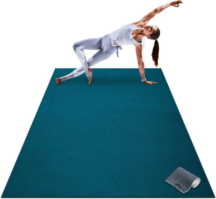 "Premium Large Yoga Mat - 7' x 5' x 8mm Extra Thick, Ultra Comfortable, Non-Toxic, Non-Slip, Barefoot Exercise Mat - Yoga, Stretching, Cardio Workout Mats for Home Gym Flooring (84"" Long x 60"" Wide)"