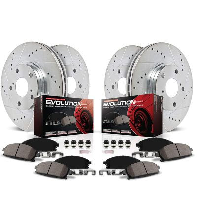 Power Stop K6083 Front & Rear Brake Kit with Drilled/Slotted Brake Rotors and Z23 Evolution Ceramic Brake Pads