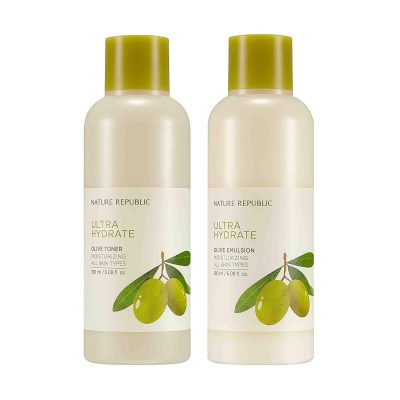 Nature Republic Toner Emulsion Set with Olive Leaf Extracts - Home Skin Care Moisturizer Set with Real Egyptian Olive 10,000ppm, Shea Butter, Vitamin E