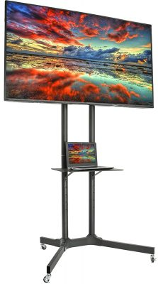 VIVO Mobile TV Cart for 32-65 inch LCD LED Plasma Flat Panel Screen TVs up to 110 lbs | Pro Height Adjustable Rolling Black Stand with Laptop Shelf & Locking Wheels - Max VESA 600x400 (STAND-TV03E)