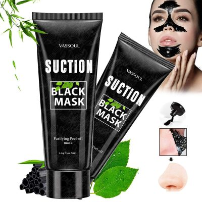 Vassoul Blackhead Remover Mask, Peel Off Blackhead Mask, Blackhead Remover - Deep Cleansing Black Mask, Bamboo Activated Charcoal Peel-Off Mask